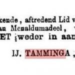 IJtzen L Tamminga (N0) aftredend lid van de Gemeenteraad Menaldumadeel