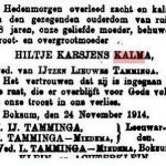 overlijden Hiltje Karsjens Kalma