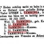 overlijdensadvertentie IJtzen Lieuwes Tamminga