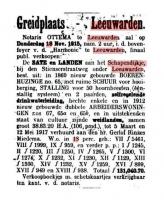 Openbare verkoop boerderij Schapendijkje Leeuwarden 1915